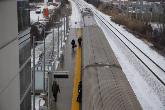 Passengers step off of Amtrak train 350 after it files into the Troy Transit Station on February 6  around 2:24 pm.