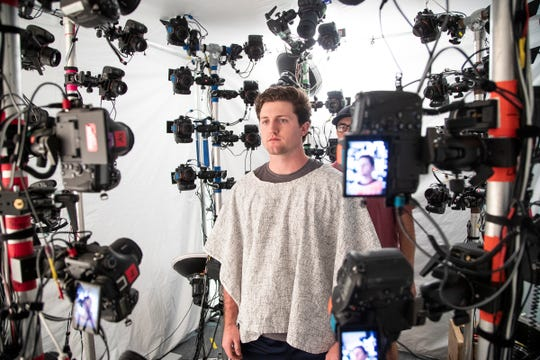Pitcher Casey Mize get his photos taken in the 3D scan for Sony's video game MLB: The Show 2020 during Detroit Tigers spring training at TigerTown in Lakeland, Fla., Wednesday, Feb. 19, 2020.