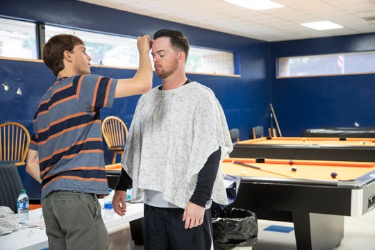 Quinten Rubalcava, prepares catcher Jake Rogers for 3D scan for Sony's video game MLB: The Show 2020 during Detroit Tigers spring training at TigerTown in Lakeland, Fla., Feb. 19, 2020.