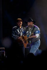 Garth Brooks performs at Ford Field in Detroit on Saturday, Feb. 22, 2020.