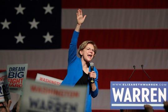 Democratic presidential candidate U.S. Sen. Elizabeth Warren, D-Mass., speaks during a campaign event Saturday, Feb. 22, 2020, in Seattle.