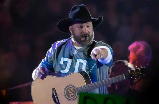 Garth Brooks performed at Ford Field on Feb. 22.