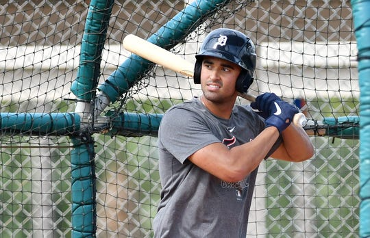 Tigers prospect Riley Greene takes batting practice at Detroit Tigers minor league minicamp at spring training in Lakeland, Fla.