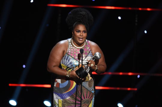 Lizzo wins the award for entertainer of the year at the 51st NAACP Image Awards at the Pasadena Civic Auditorium on Saturday, Feb. 22, 2020, in Pasadena, Calif. (AP Photo/Chris Pizzello)