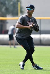 Tigers prospect outfielder Riley Greene practice footwork and outfield throws.
