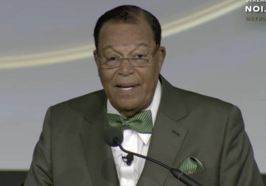 """The Rev. Louis Farrakhan speaks on """"The Unraveling of a Great Nation"""" at TCF Center Sunday in Detroit."""