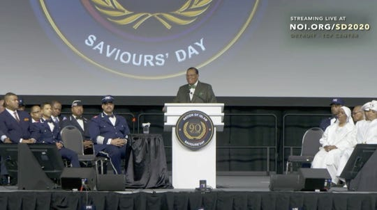 Louis Farrakhan made his comments before a packed hall at TCF Center on the last day of the three-day Saviours' Day convention in Detroit.