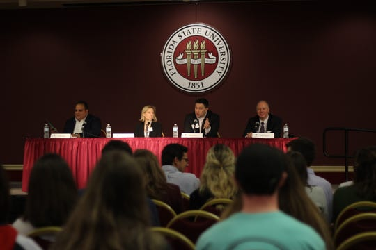 From left to right: Ivan Diaz, Lauren Oplinger, Ryan Kist and Yves Veulliet speak to FSU students about the importance of diversity in the workplace.