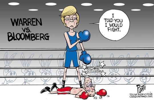 Warren knocks down Bloomberg.