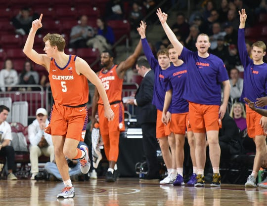 Feb 22, 2020; Chestnut Hill, Massachusetts, USA; Clemson Tigers forward Hunter Tyson (5) reacts after making a basket against the Boston College Eagles during the first half at Conte Forum. Mandatory Credit: Bob DeChiara-USA TODAY Sports