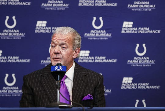 Owner of the Indianapolis Colts, Jim Irsay, holds a press conference at the Indiana Farm Bureau Football Center, Indianapolis, Sunday, Feb. 23, 2020.