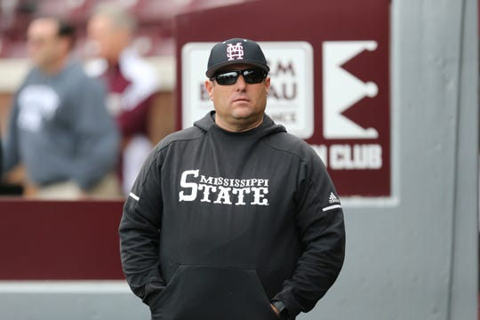 Mississippi State head baseball coach Chris Lemonis. Mississippi State played Oregon State at Dudy Noble Field in game 3 of the series on Sunday, February 23, 2020. Photo by Keith Warren