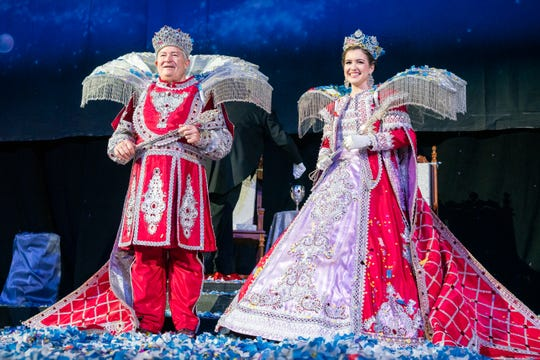 King Triton XLI David Crouch and Queen Triton XLI Sophie Ann Goodrich are presented on stage as the Krewe of Triton holds their 41st Annual Mardi Gras ball at the Cajundome on Saturday, Feb. 22, 2020.