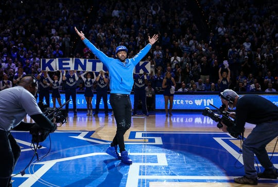 Former UK player John Wall makes a special appearance to be the 'Y' of Kentucky during a timeout in the game against Florida. Feb. 22, 2020