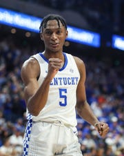 """Immanuel Quickley soaks in the Wildcat win over Florida Saturday night. He finished with career-high 26 points. """"He made every shot,"""" Nick Richards said of Quickley. """"When we needed a basket, we went to him. He made really tough 3s. His overall game tonight, he just played amazing.""""Feb. 22, 2020"""