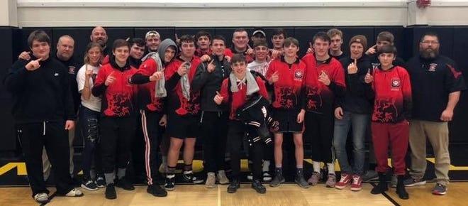 Coach Steve Haverdill (back row, far left) and his Crestview Cougars won their third Firelands Conference title in four years