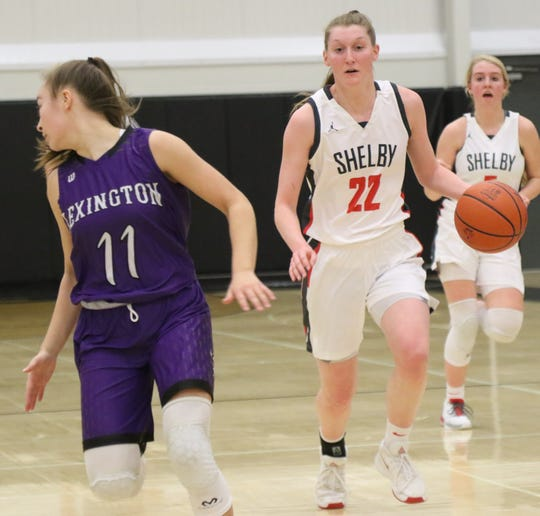Shelby's Emma Randall became the fifth Lady Whippet to score 1,000-career points in a sectional championship win over Lexington on Saturday at Monroeville High School.
