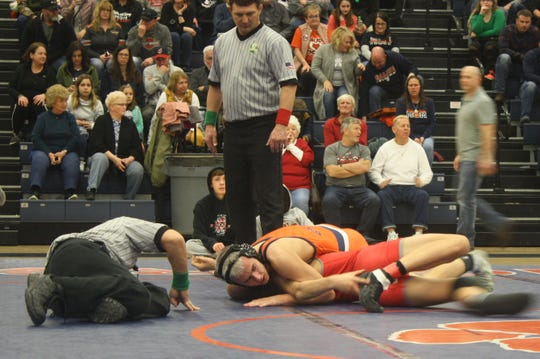Galion's Devin McCarthy couldn't quite lock down the pin here, but he did walk away with a 13-4 win over Shelby's Garrett Baker for the 132-pound title in Saturday's Mid-Ohio Athletic Conference tournament