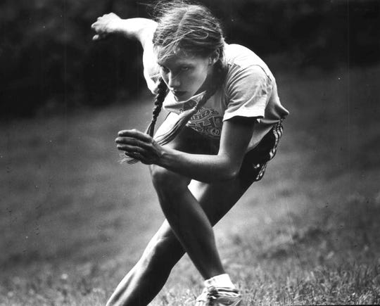 """Beth Heiden, just 20 at the 1980 Olympics, was an elite speedskater in her own right. Beth Heiden is shown going through """"dry land"""" exercises designed to simulate speed skating motions in 1980."""