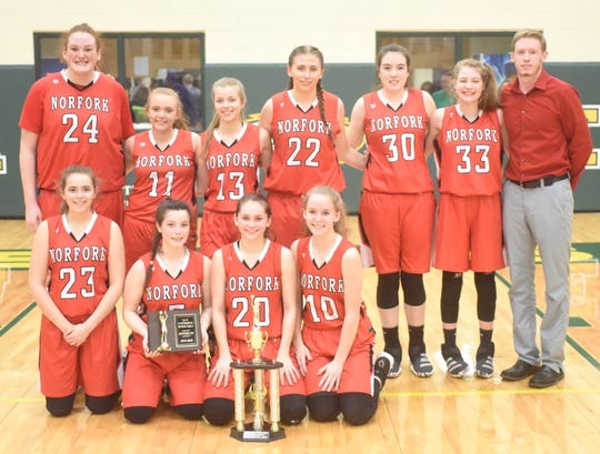 The 1A-2 Conference and District runner-up Norfork Lady Panthers