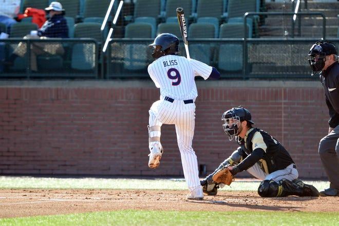 Auburn shortstop Ryan Bliss bats against UCF on Friday, Feb. 21, 2020.