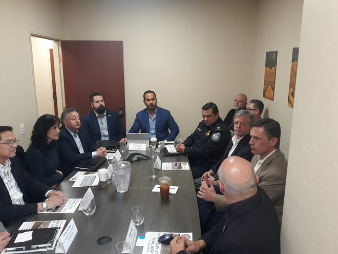 U.S. Senator Martin Heinrich, D-NM, hosted about a dozen stakeholders in his Las Cruces field office for an update on the Santa Teresa Port of Entry and the port's role in trade with Mexico on Wednesday, Feb. 19, 2020.