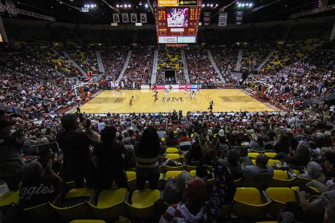The New Mexico State Aggies face off against the University of Texas Rio Grande Valley Vaqueros at the Pan American Center in Las Cruces on Saturday, Feb. 22, 2020.