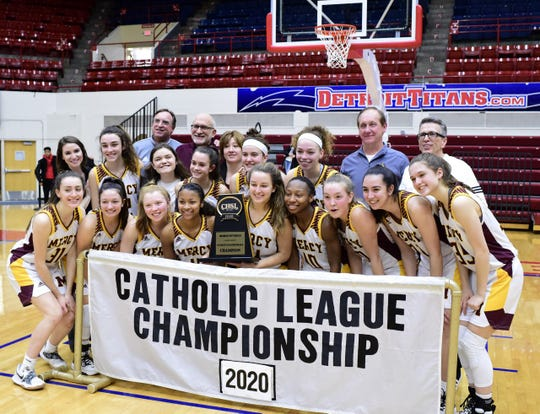 Mercy celebrates its eighth Catholic League title in school history.