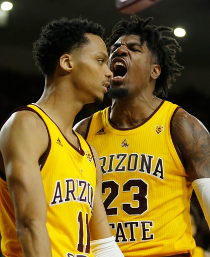 ASU's Romello White (23) celebrates with Alonzo Verge (11) after Verge scored against Oregon State during second half at Desert Financial Arena in Tempe, Ariz. on Feb. 22, 2020.