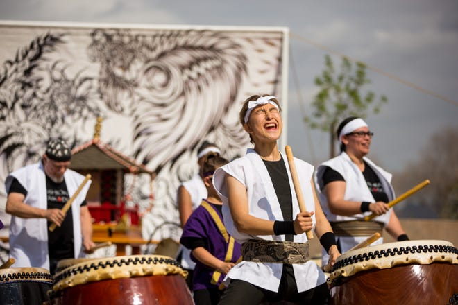 """""""Ken Koshio Gumi"""" with special guests """"Samurai Spirits"""" perform during the annual Matsuri Festival on Feb. 23, 2020 at Steele Indian School Park in Phoenix."""