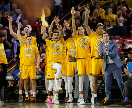 ASU's bench reacts to a Rob Edwards three pointer against Oregon State during first half at Desert Financial Arena in Tempe, Ariz. on Feb. 22, 2020.