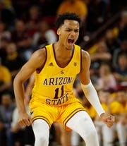 ASU's Alonzo Verge (11) celebrates a three against Oregon State during first half at Desert Financial Arena in Tempe, Ariz. on Feb. 22, 2020.