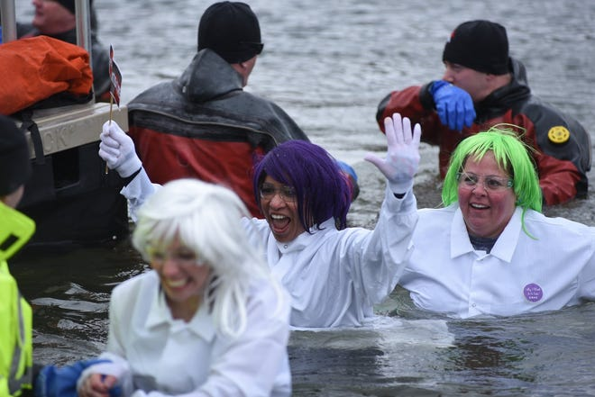 """""""Subzero Heroes"""" take a plunge into Berean Lake in Highland on Feb. 8."""
