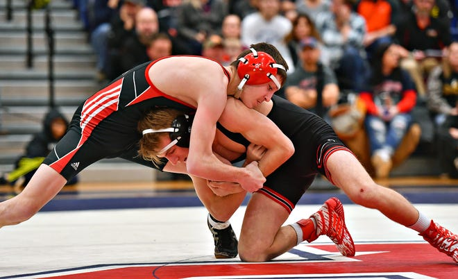 Dover's Mason Leiphart, seen here at top in a file photo, is 15-0 this season. He's a returning state qualifier and seeded No. 1 in the District 3 Section 4 Tournament at South Western on Saturday.