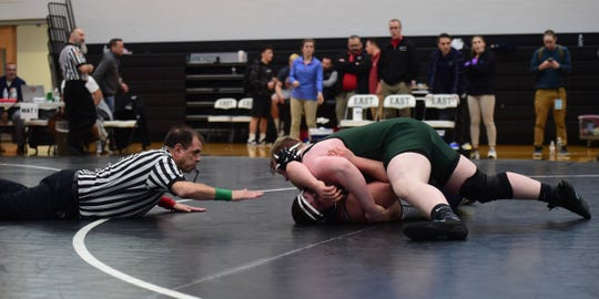 Fairfield's Jake Moyer pins Bishop McDevitt's Saywer Morgan in the 285-pound finals at Central Dauphin East on Saturday to become the third wrestler in Fairfield history to win a District 3 title.