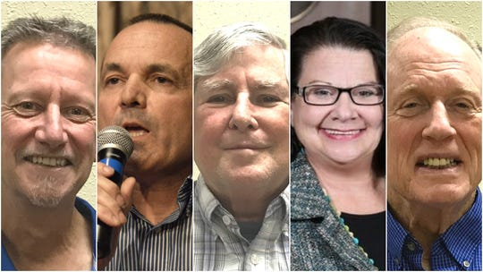 District 4 supervisor candidates, from left, Curtis Byron, Patrick Jones, incumbent Steve Morgan, Janice Powell and Bill Schappell.