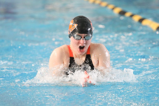 Silverton's Marie Tolmachoff competes in the girls 100-yard breaststroke at the OSAA 5A swimming state championship at Tualatin Hills Aquatic Center on February 22.