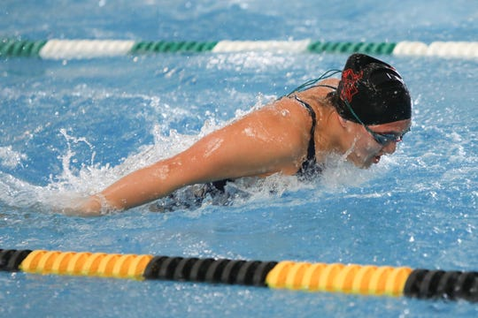 North Salem's Morning Ped competes in the 200-yard individual relay at the OSAA 5A swimming state championship at Tualatin Hills Aquatic Center February 22.