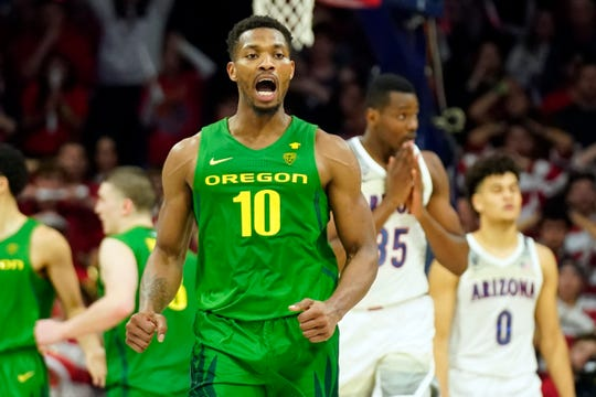 Oregon forward Shakur Juiston (10) reacts after scoring against Arizona during the second half of an NCAA college basketball game Saturday, Feb. 22, 2020, in Tucson, Ariz. Oregon won 73-72 in overtime.
