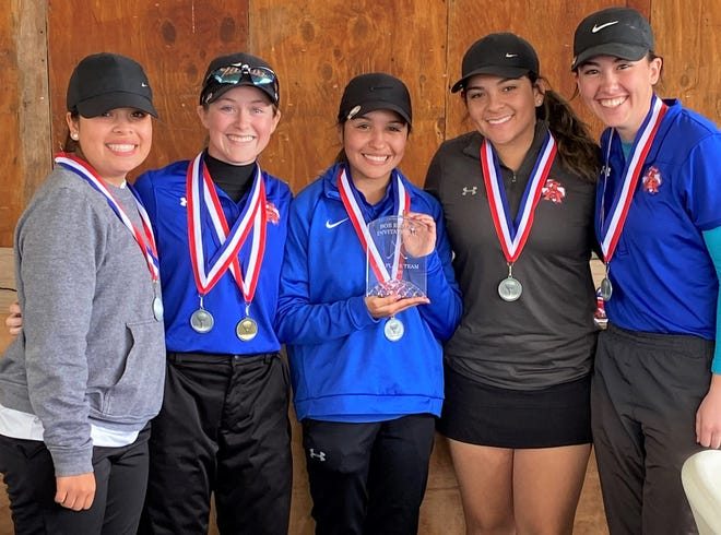The San Angelo Central High School girls golf team took second at the Tall City Invitational in Midland on Saturday, Feb. 22, 2020. Ryann Honea, second from left, won the medalist title by 17 shots.