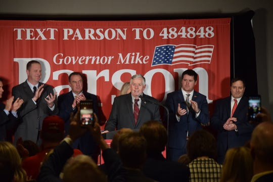 Gov. Mike Parson, center, stands with the other four GOP statewide elected officials at a rally on Friday, Feb. 21, 2020 at University Plaza Hotel. From left: Attorney General Eric Schmitt, Lt. Gov. Mike Kehoe, Treasurer Scott Fitzpatrick and Secretary of State Jay Ashcroft.