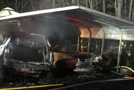 Two cars were lost in a fire Saturday night in Augusta Springs.