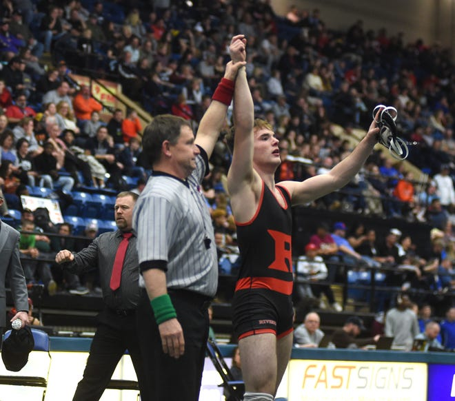 Riverheads' Lane Cash wins the state championship in Class 1 for 145 pounds Saturday, February 22, at the Salem Civic Center.