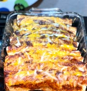 The recipe makes nine enchiladas and it's It is even better for leftovers for lunch or another dinner.