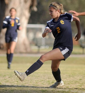 Autumn Clark scored one of Santa Clara's two goals in the Saints' semifinal victory on Saturday.