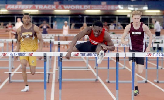 Emanuel Joseph of North Rockland set a New York State record with a time of 7.21 in the boys 55 meter hurdles during the Section 1 New York State Track and Field Qualifying Meet at the New Balance Armory in Manhattan Feb. 23, 2020.