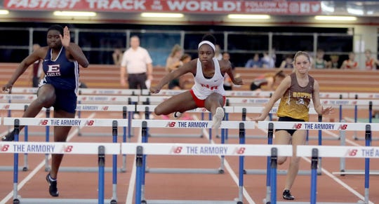 Nadia Saunders of North Rockland won the girls 55 meter hurdles with a time of 8.22 during the Section 1 New York State Track and Field Qualifying Meet at the New Balance Armory in Manhattan Feb. 23, 2020.