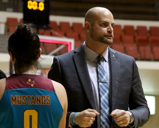 Midwestern State coach Christopher Reay after the game against Oklahoma Christian Saturday, Feb. 22, 2020, in D.L. Ligon Coliseum.