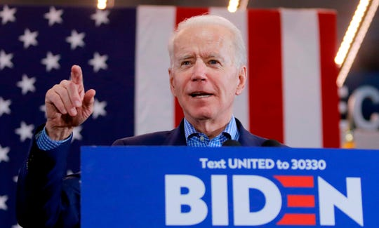 Democratic presidential hopeful and former Vice President Joe Biden gestures as he speaks at a Nevada Caucus watch party on Feb. 22, 2020, in Las Vegas, during the Nevada caucuses.