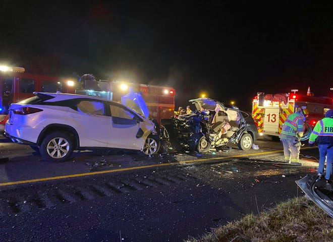 Six people were killed when an SUV driving the wrong way on Interstate 95 early Sunday struck another SUV carrying a family of five from Virginia, Georgia police said.